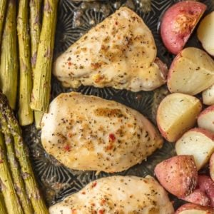 Honey Garlic Chicken and Veggies is the ultimate ONE PAN CHICKEN weeknight meal. It's an easy go-to when you need something delicious and simple. The Honey Garlic Chicken with asparagus and potatoes is a full, well-balanced meal all in one pan. And bonus, there's only one sheet pan to clean!