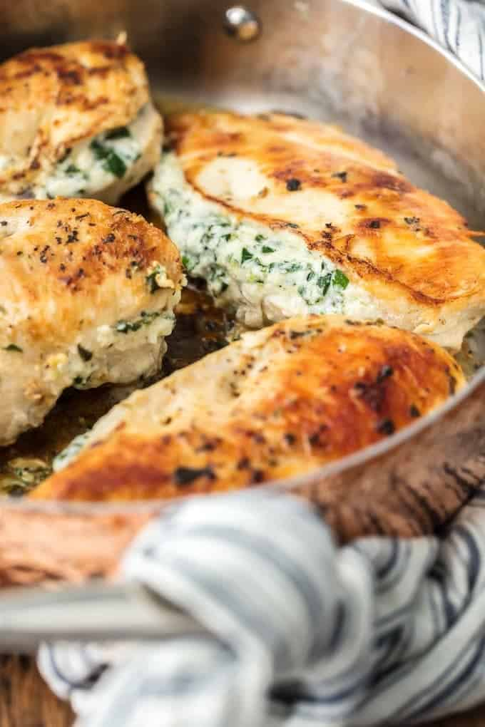 stuffed chicken breast with boursin cheese and spinach - healthy stuffed chicken breast recipe