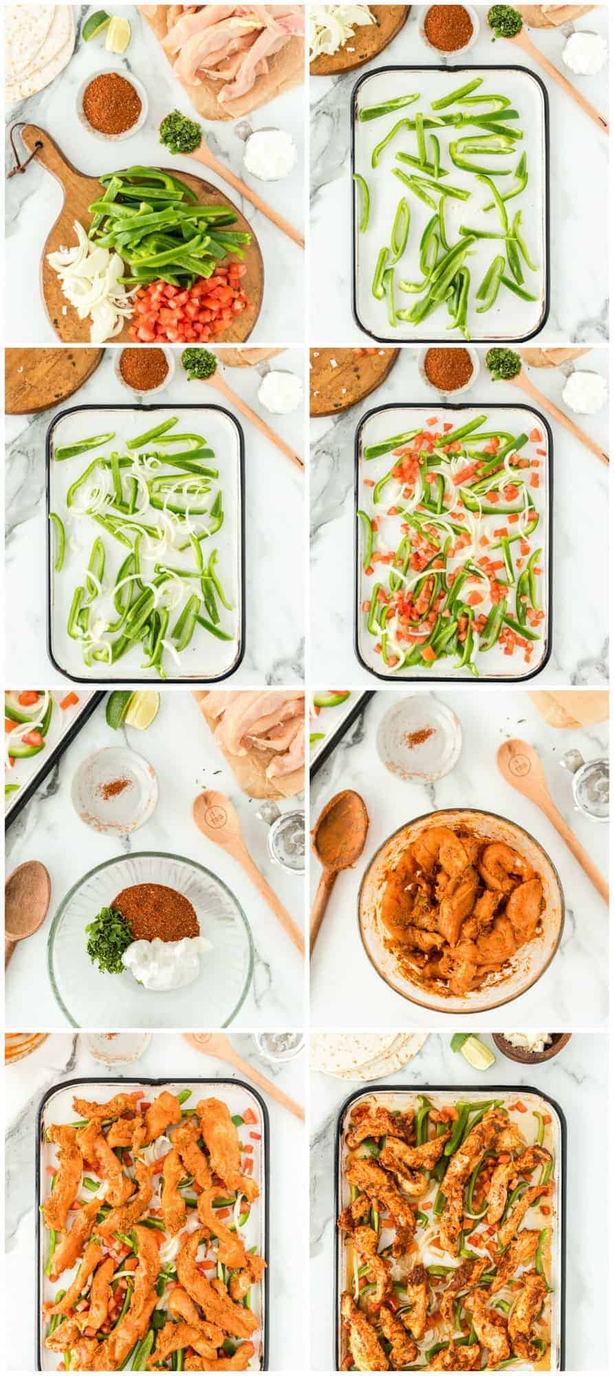 step by step photos for making baked chicken fajitas