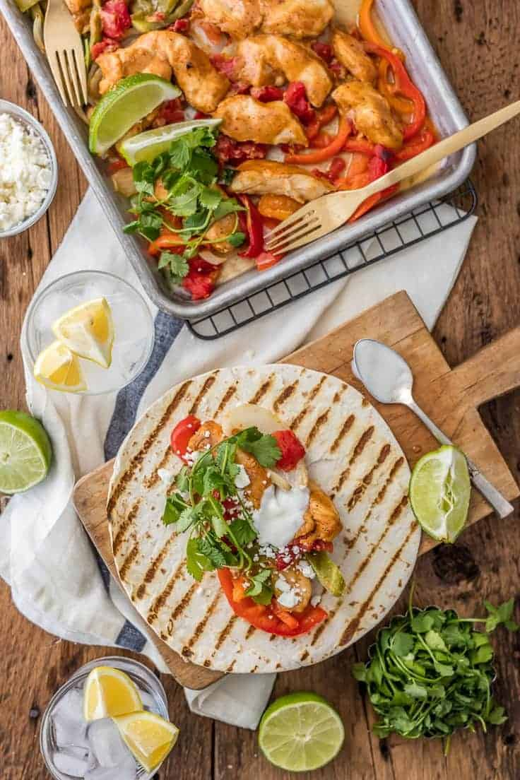 baked chicken fajitas recipe - healthy chicken fajitas