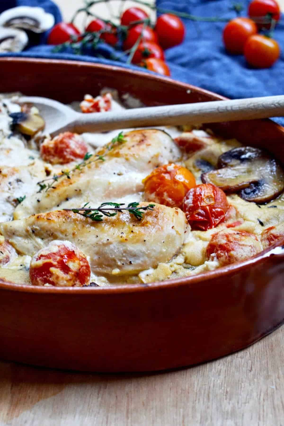 chicken in creamy sauce with tomatoes and mushrooms. healthy chicken dinner