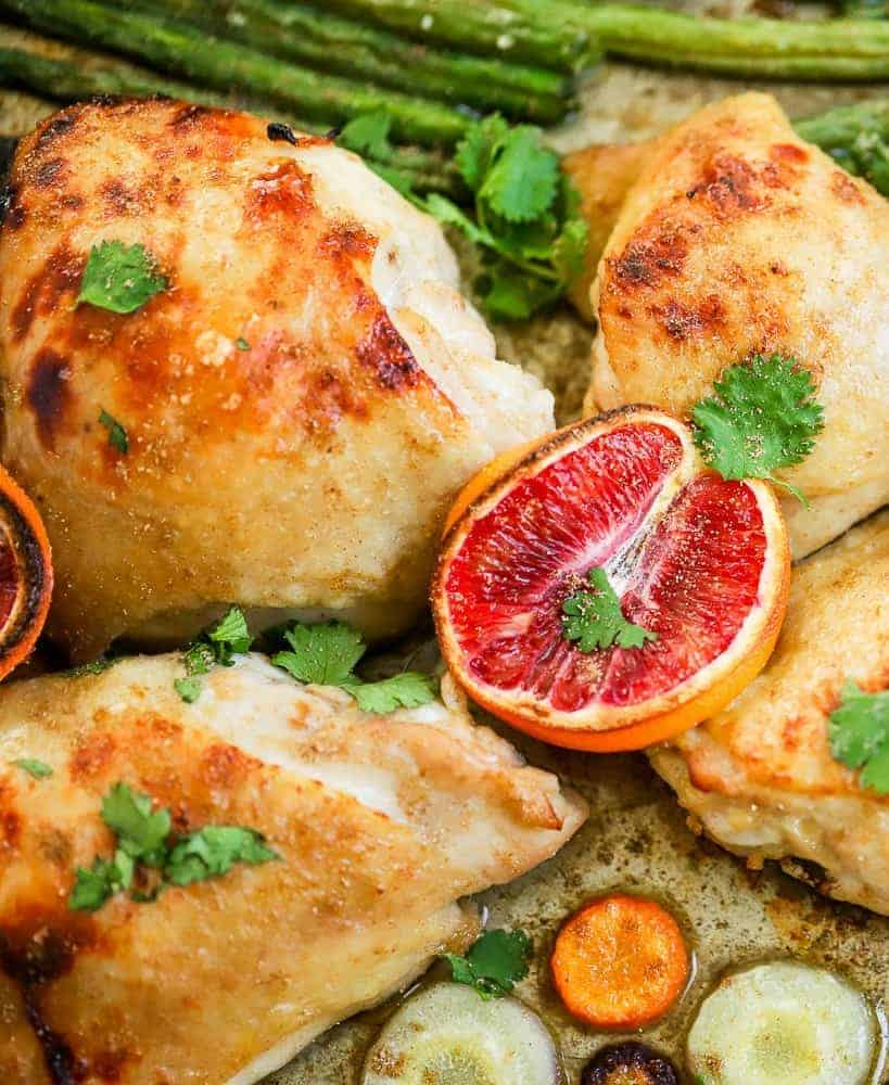 orange glazed chicken with green beans and carrots
