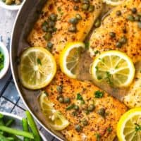 Easy Chicken Piccata is an amazing dinner made in minutes that the entire family will love. This one pan Lemon Chicken Piccata Recipe has only 7 ingredients and is packed with SO much flavor. This easy chicken recipe is one of our all-time favorites!