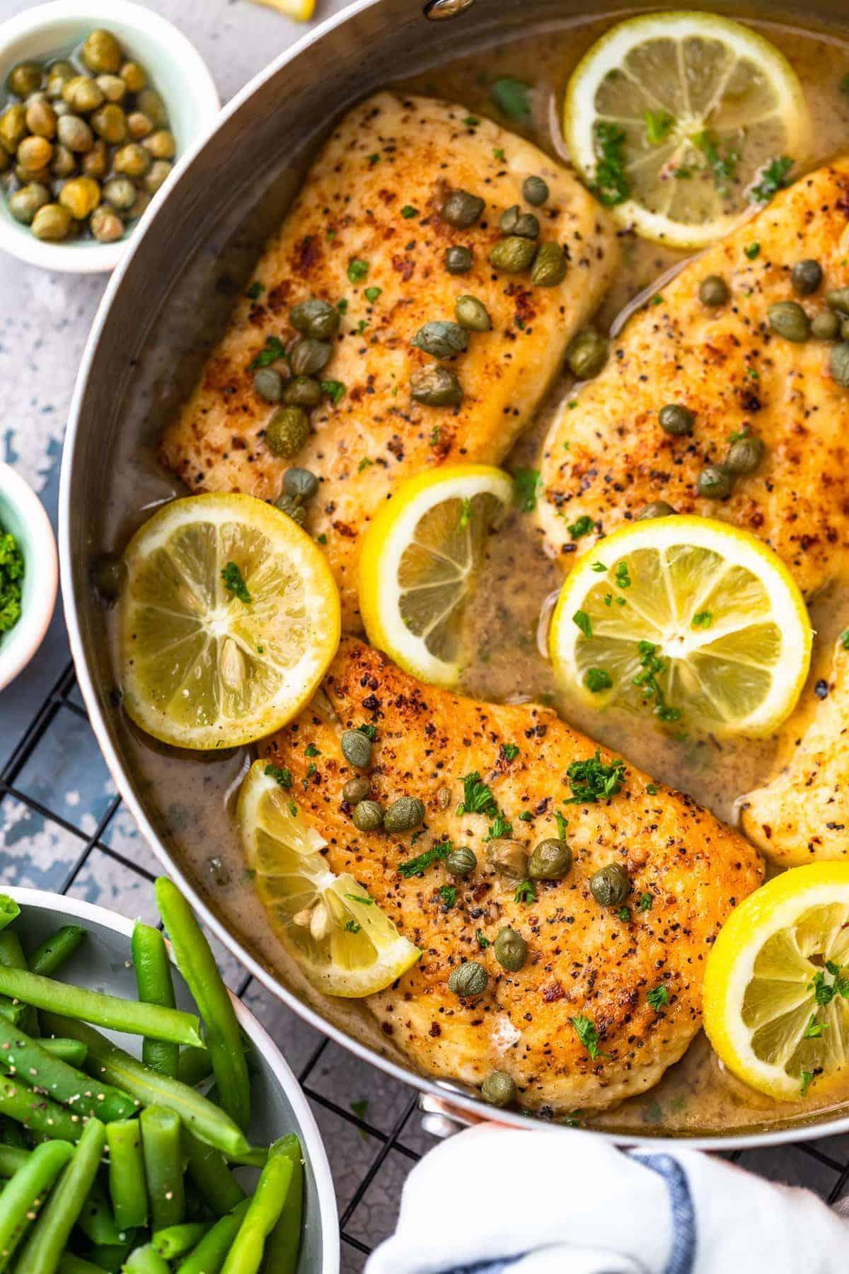 Easy Chicken Piccata Recipe in lemon sauce in skillet