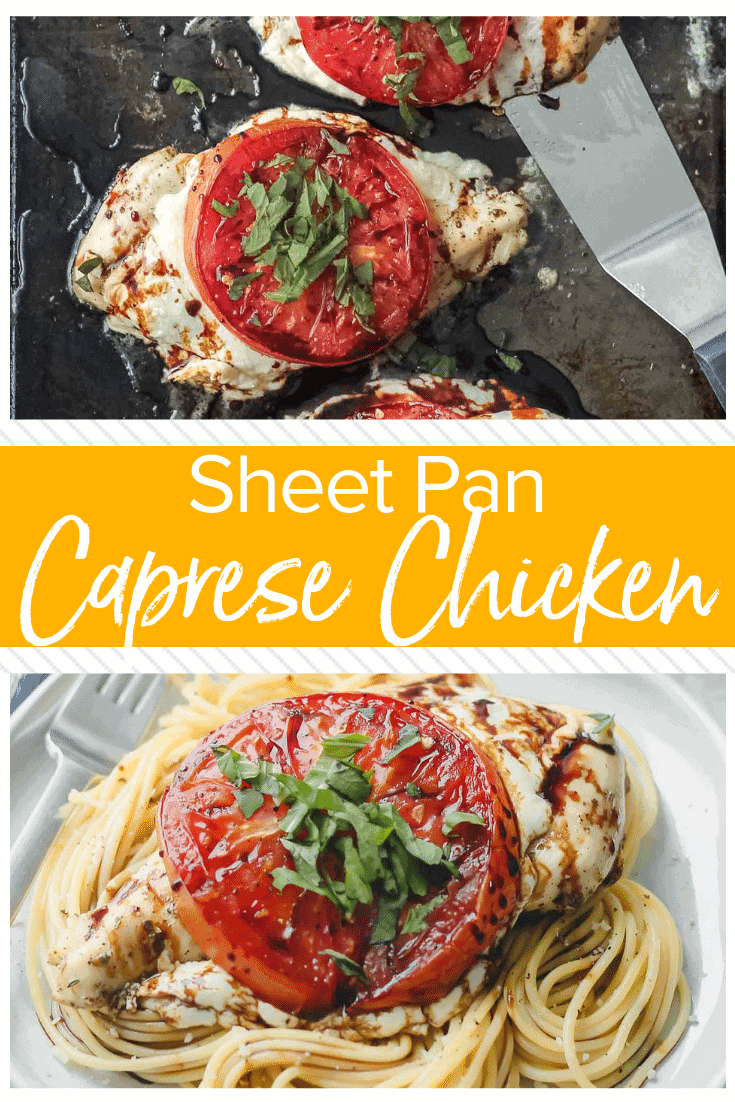 This Sheet Pan Chicken Caprese recipe is quick, easy, and even a little bit fancy. Easy Caprese Chicken is the perfect easy chicken recipe for busy weeknights! Five basic ingredients and one sheet pan are all you need to make this healthy Italian-inspired meal.