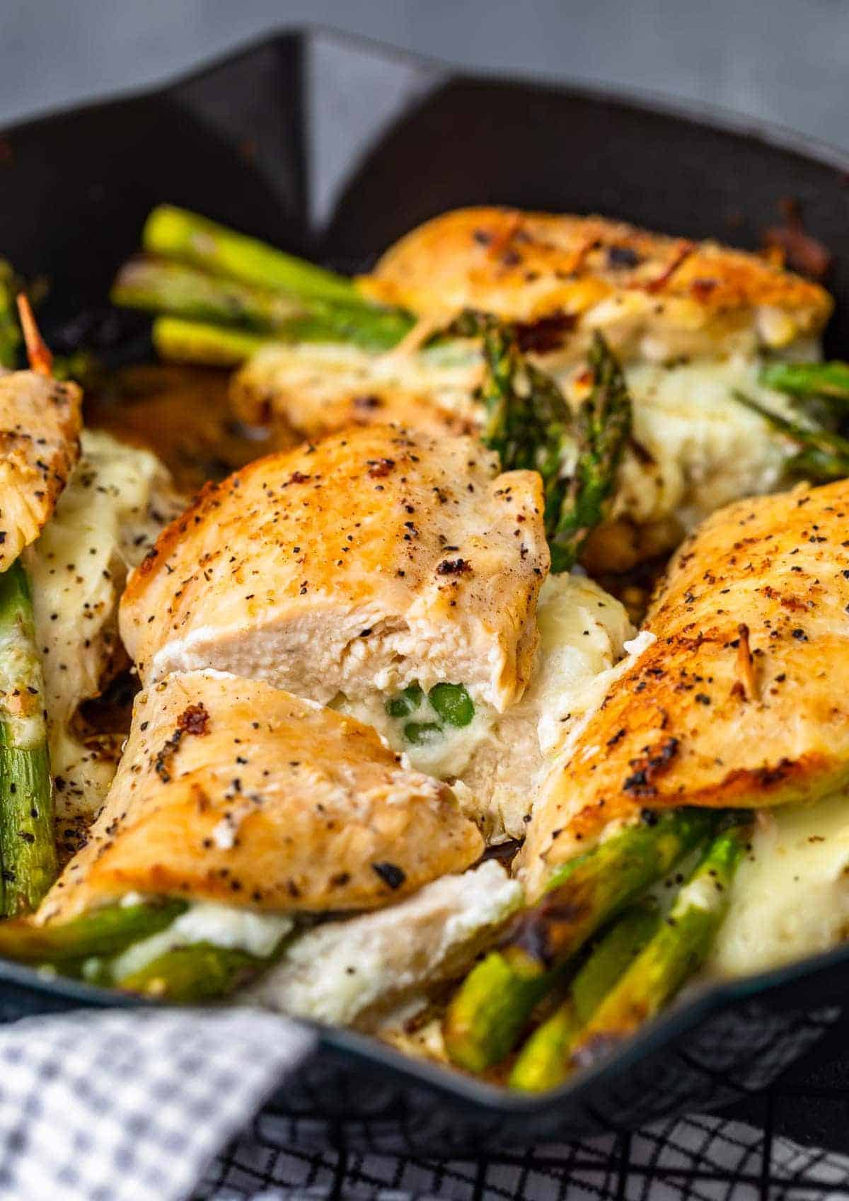 Cheesy Asparagus Stuffed Chicken Breast with goat cheese and mozzarella