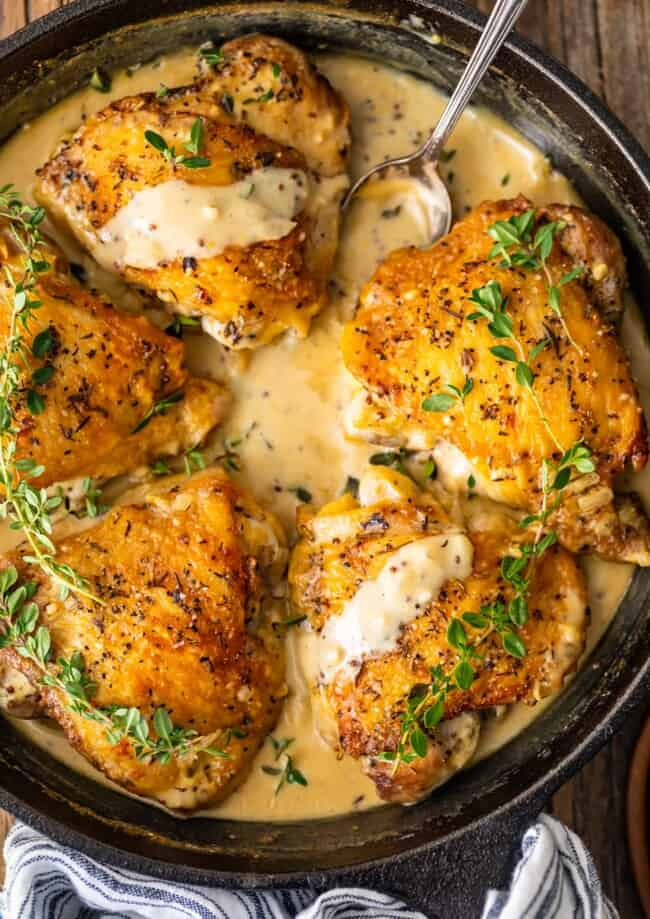 Chicken in White Wine Sauce is our favorite way to make Creamy Chicken Dijon! This amazing White Wine Sauce has 3 types of mustard and is sure to please. This easy chicken recipe can be dressed up for date night, or reheated for lunch on the go. Amazing!
