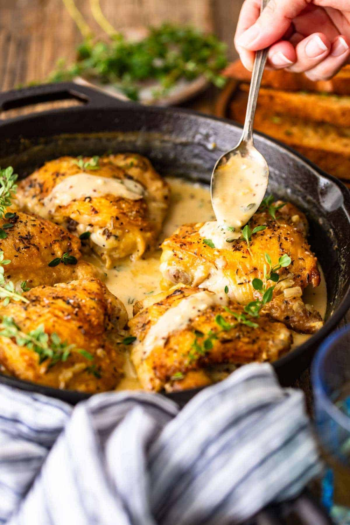 Creamy Dijon Chicken Drizzled in White Wine Sauce