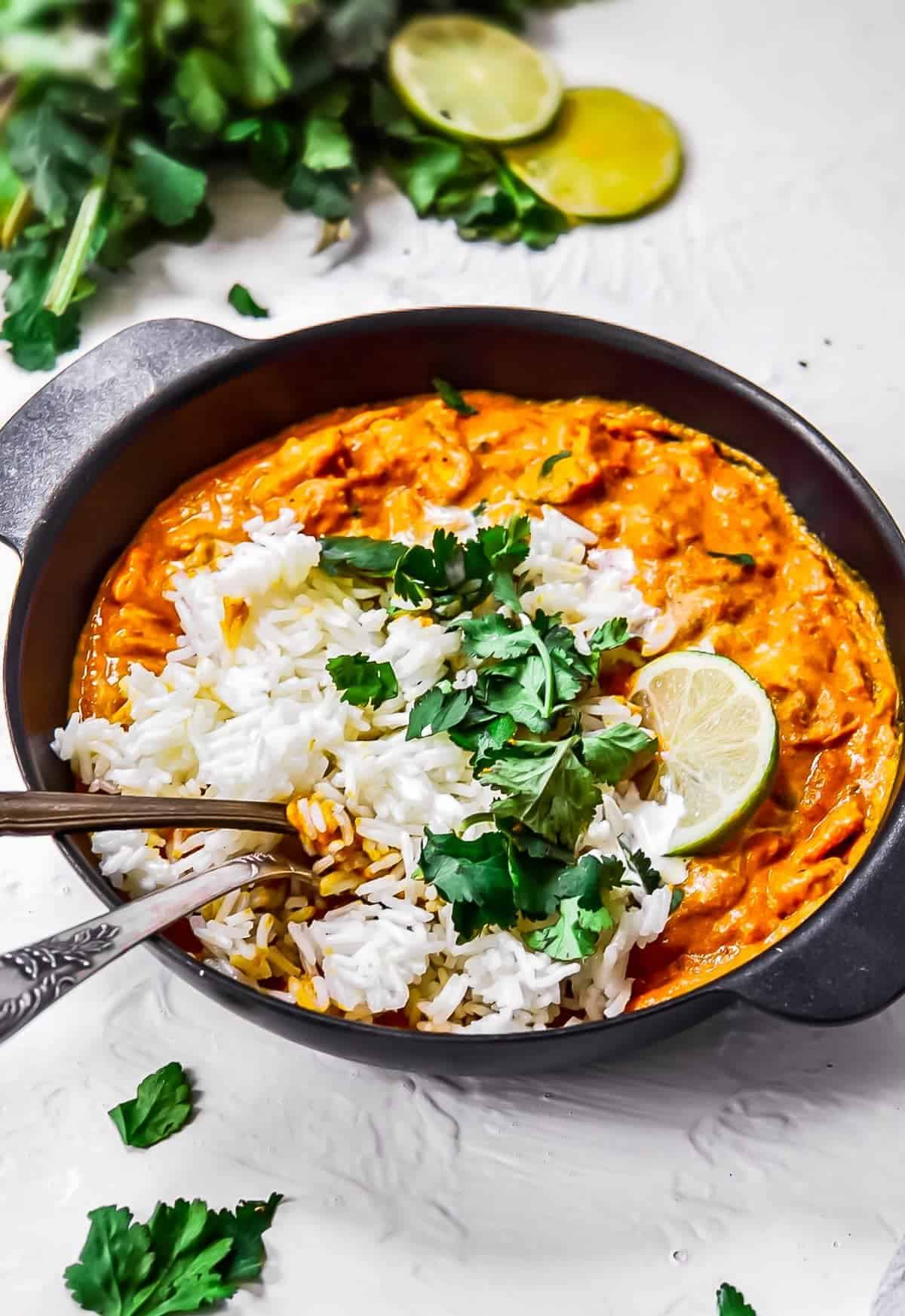Chicken tikka masala recipe with rice and cilantro