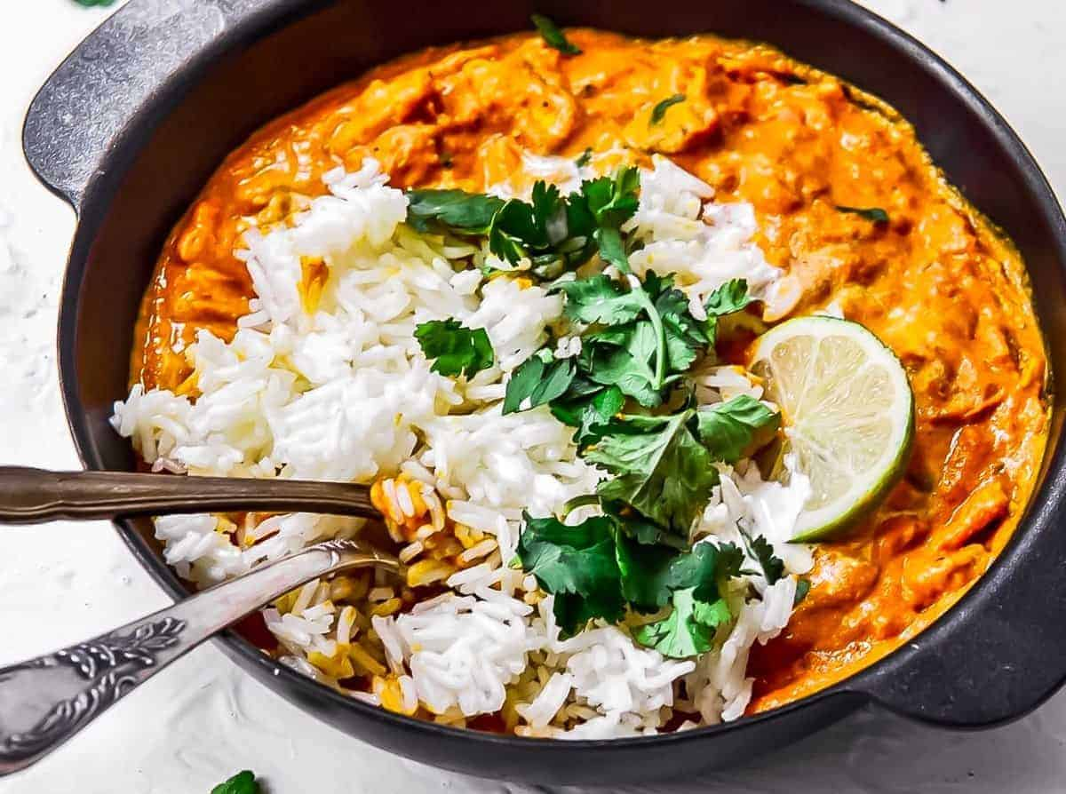side shot Chicken tikka masala recipe