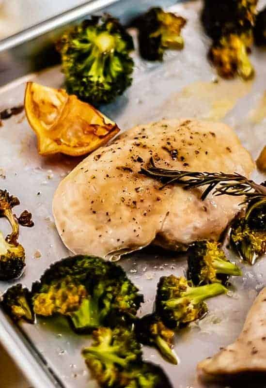 Sheet Pan Lemon Chicken with Broccoli close up shot