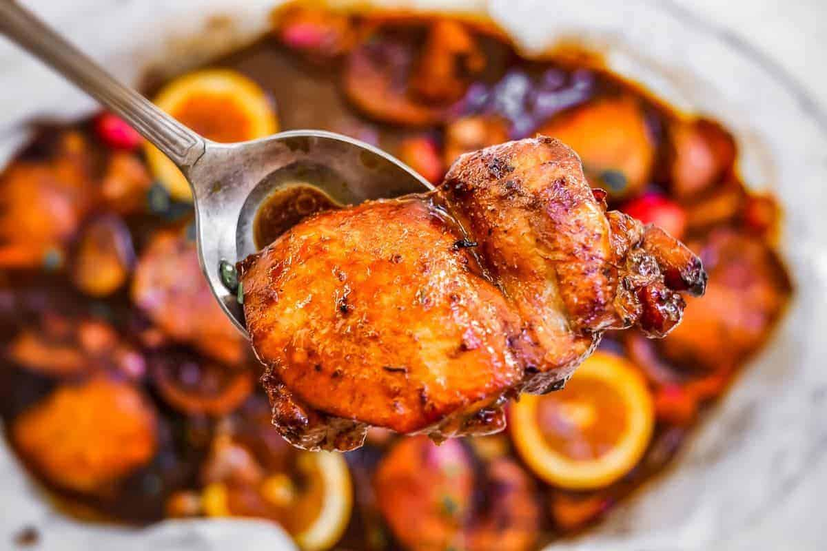 Tender Balsamic Glazed Chicken with blood orange