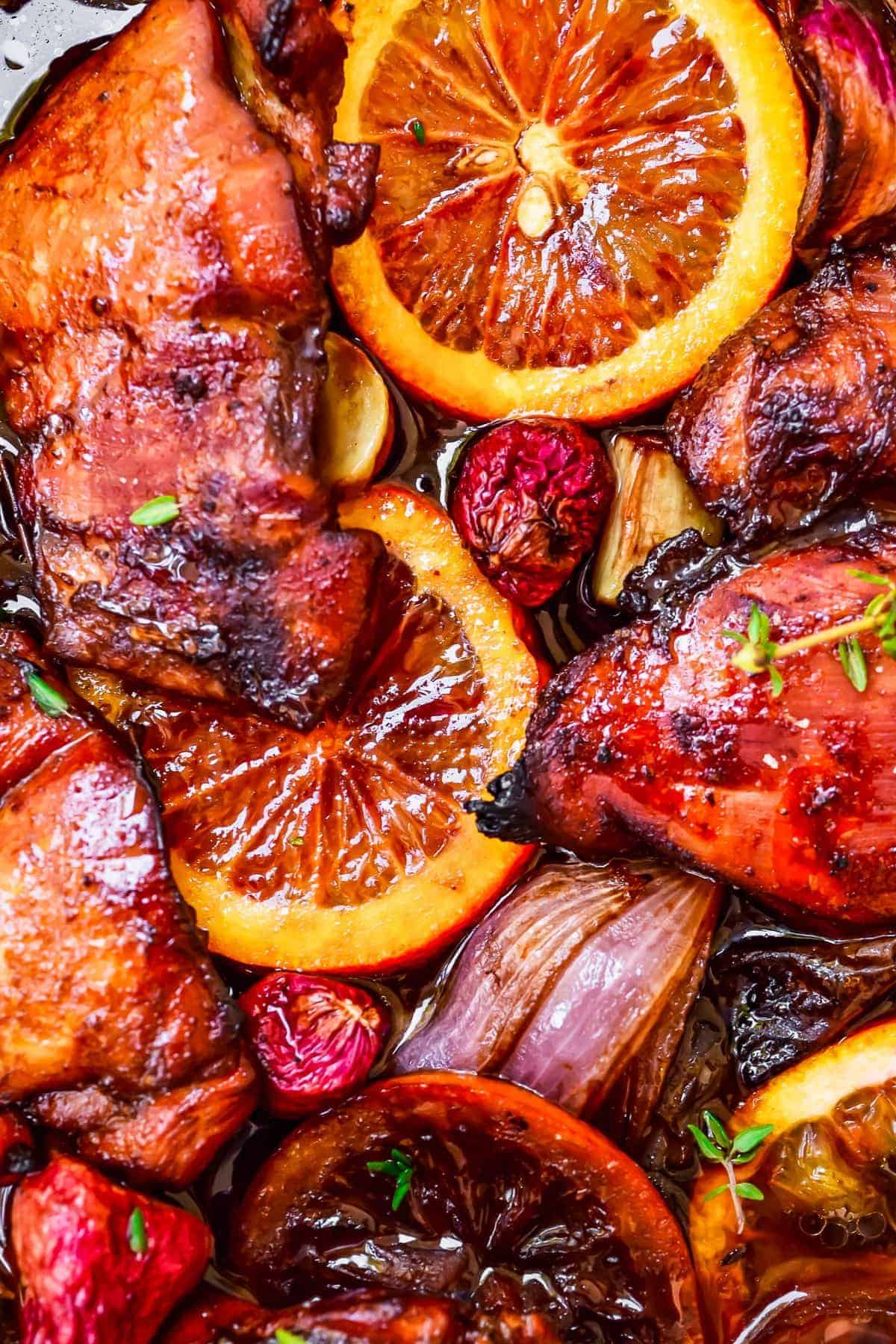 Balsamic Glazed Chicken with oranges and onions