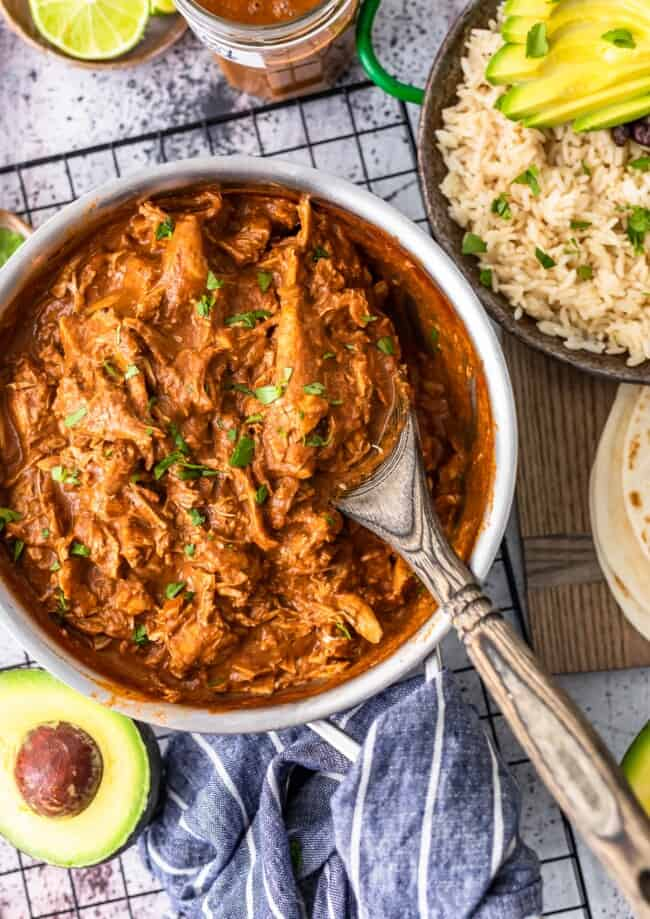 Easy Chicken Mole is one of our favorite Mexican Chicken Recipes to make any time of year. This EASY Mole Sauce is so flavorful and made in under 30 minutes.