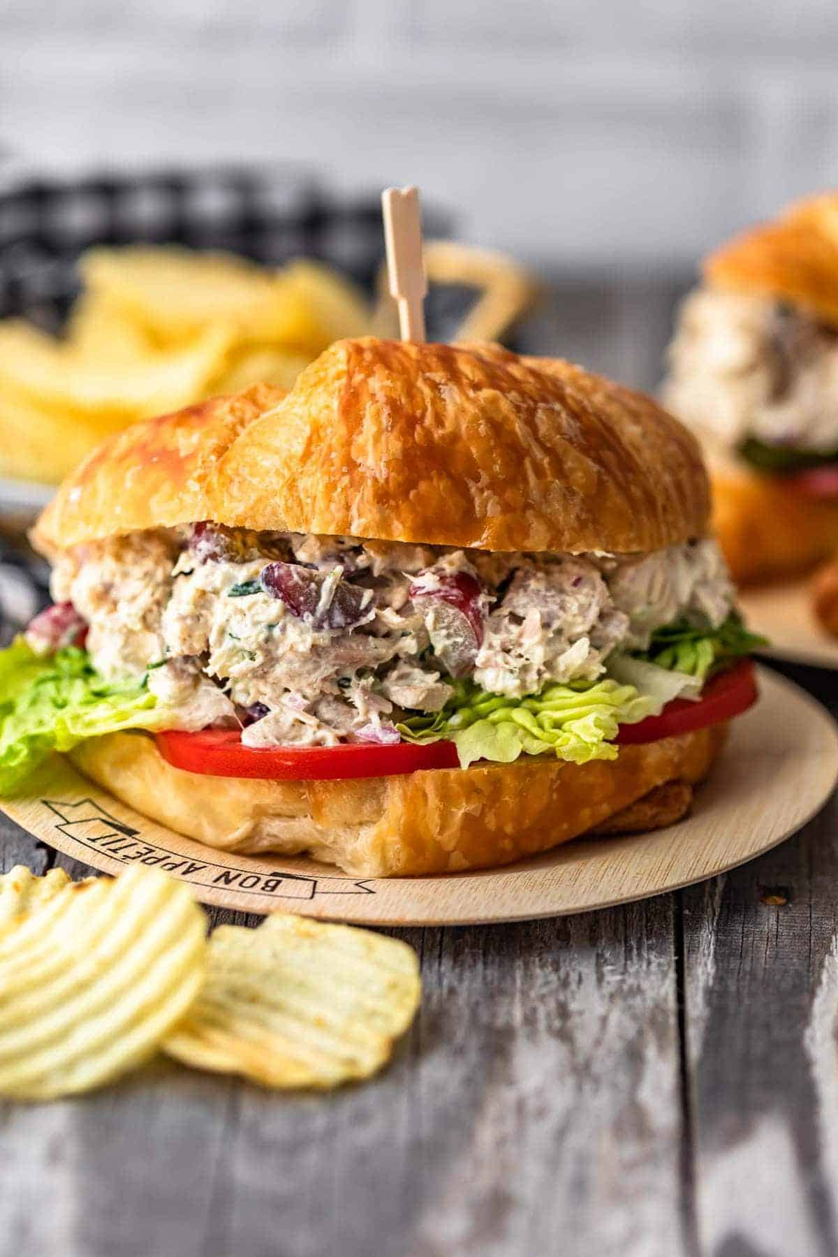 Classic Chicken Salad is the type of recipe every household loves. This Chicken Salad recipe is simple; loaded with chunks of chicken, grapes, herbs, and a creamy base. The best Summer recipe!