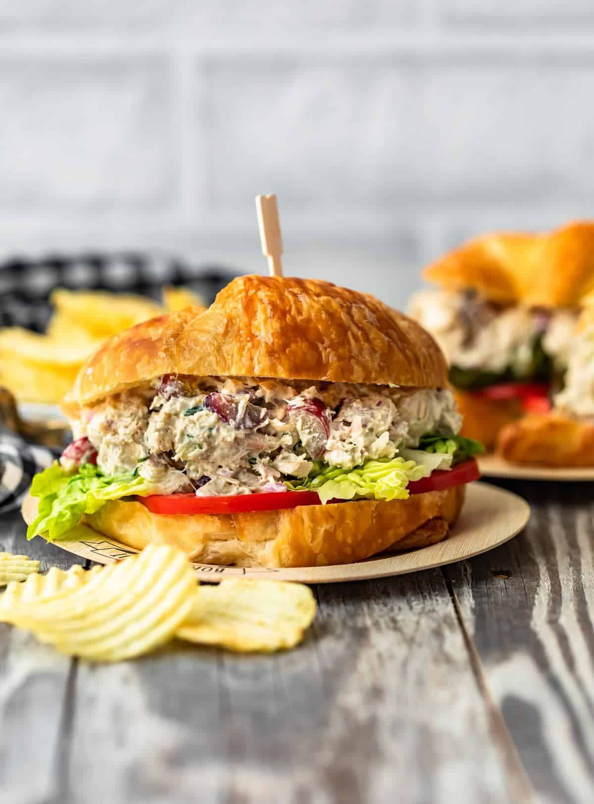 Classic Chicken Salad sandwich on plates