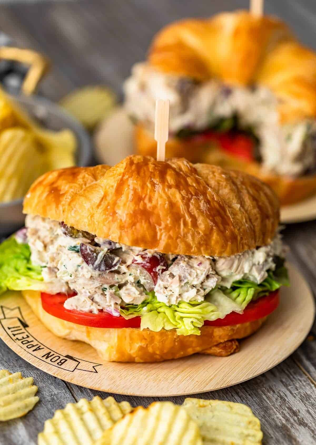Classic Chicken Salad with grapes on a croissant
