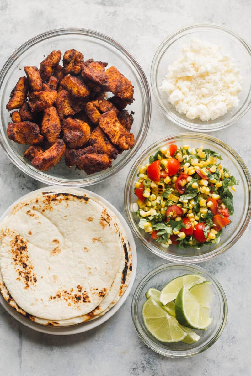 ingredients for cilantro lime chicken tacos