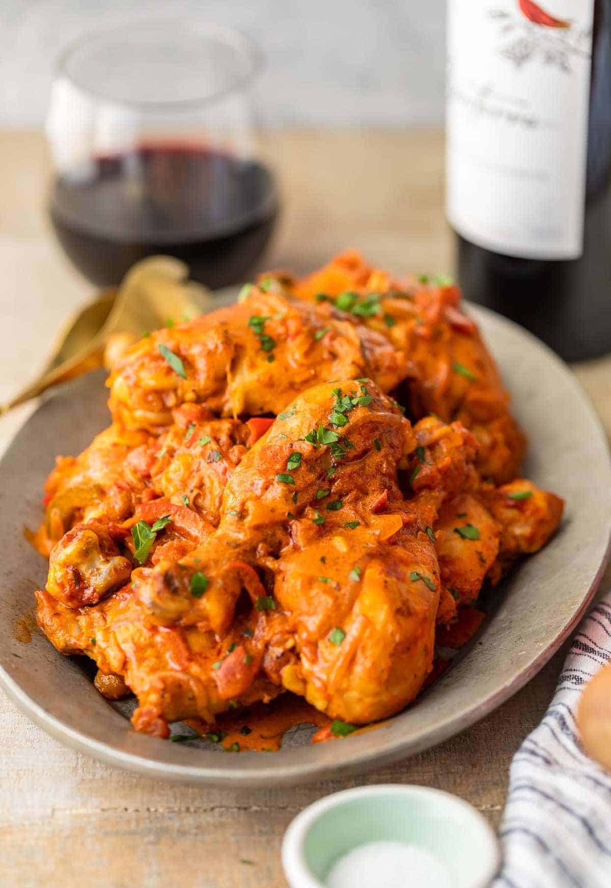 chicken paprikash recipe on a plate ready to serve