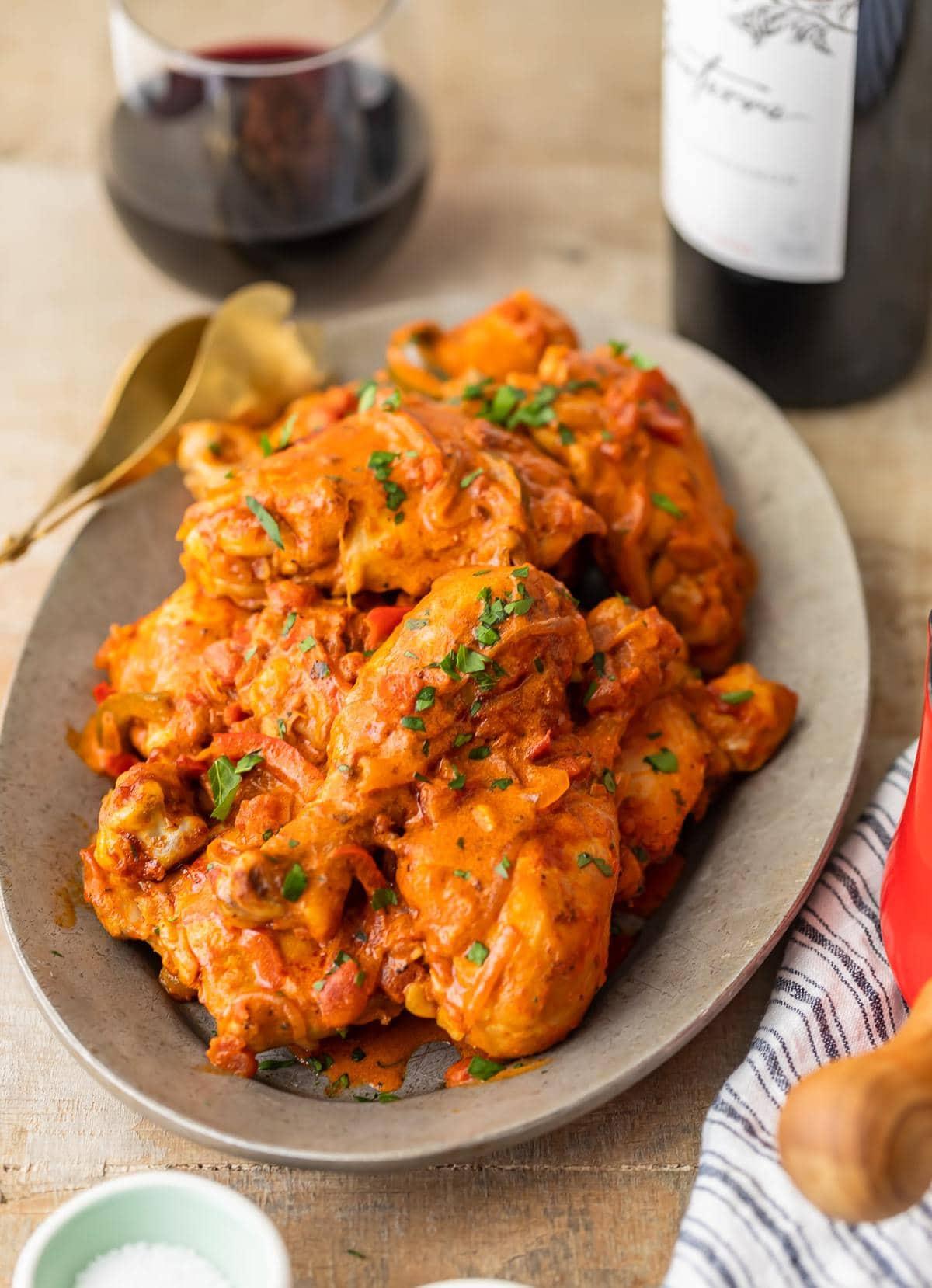 chicken thighs baked in creamy chicken paprika sauce