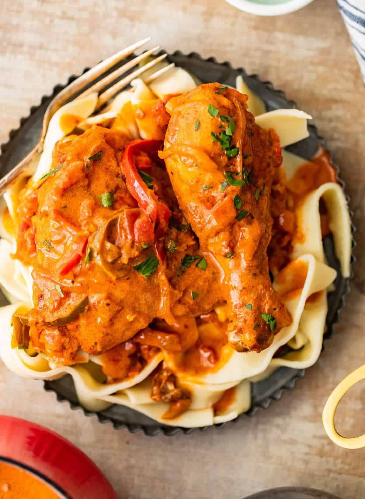 creamy chicken paprikash over butter noodles on a plate