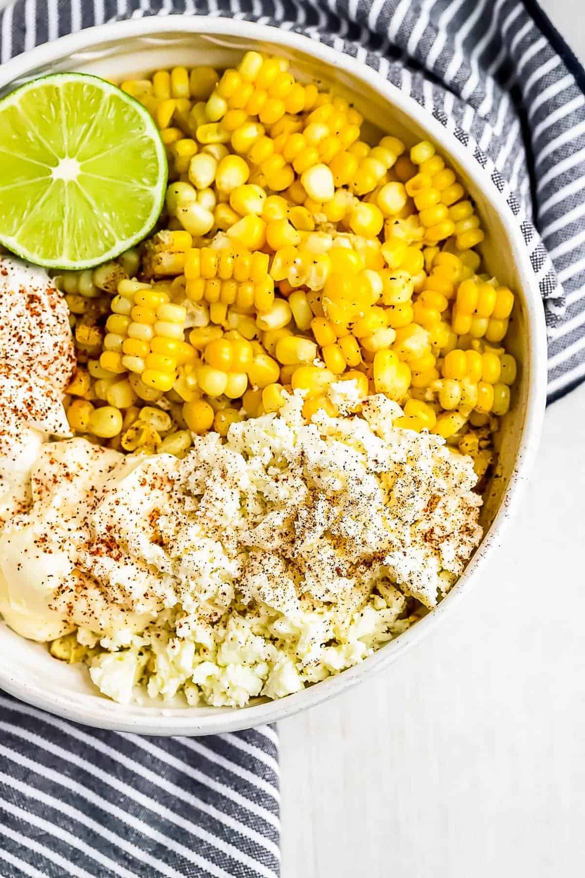 how to make street corn, ingredients shot