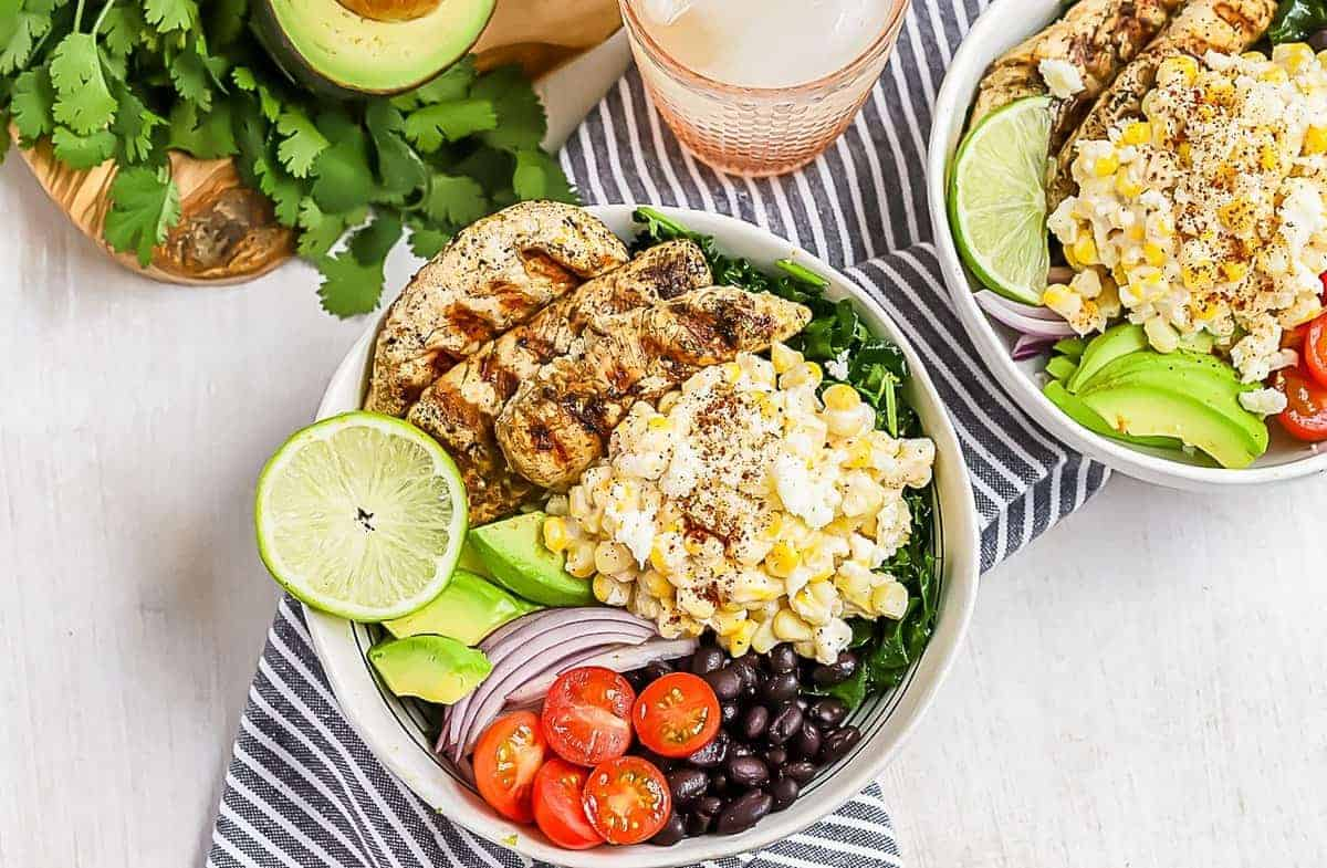 grilled chicken salad with street corn and kale
