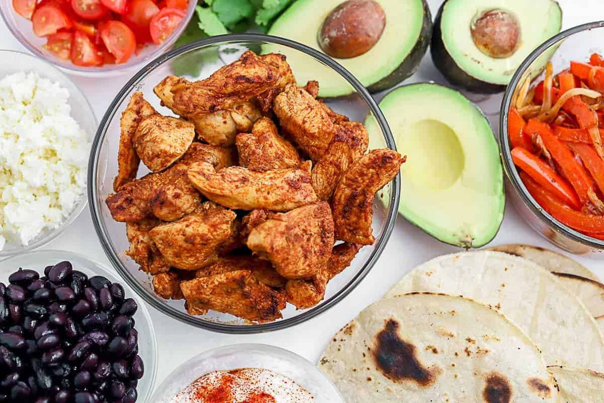 ingredients for blackened chicken tacos step by step