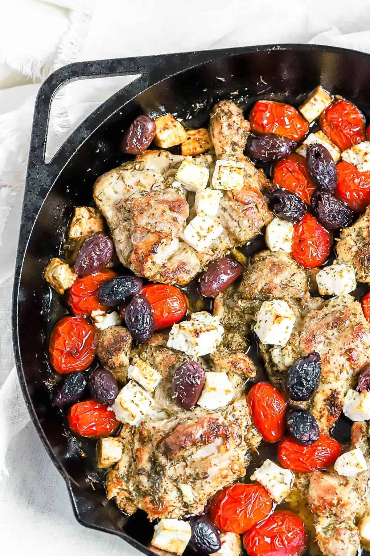 Greek chicken skillet after being cooked