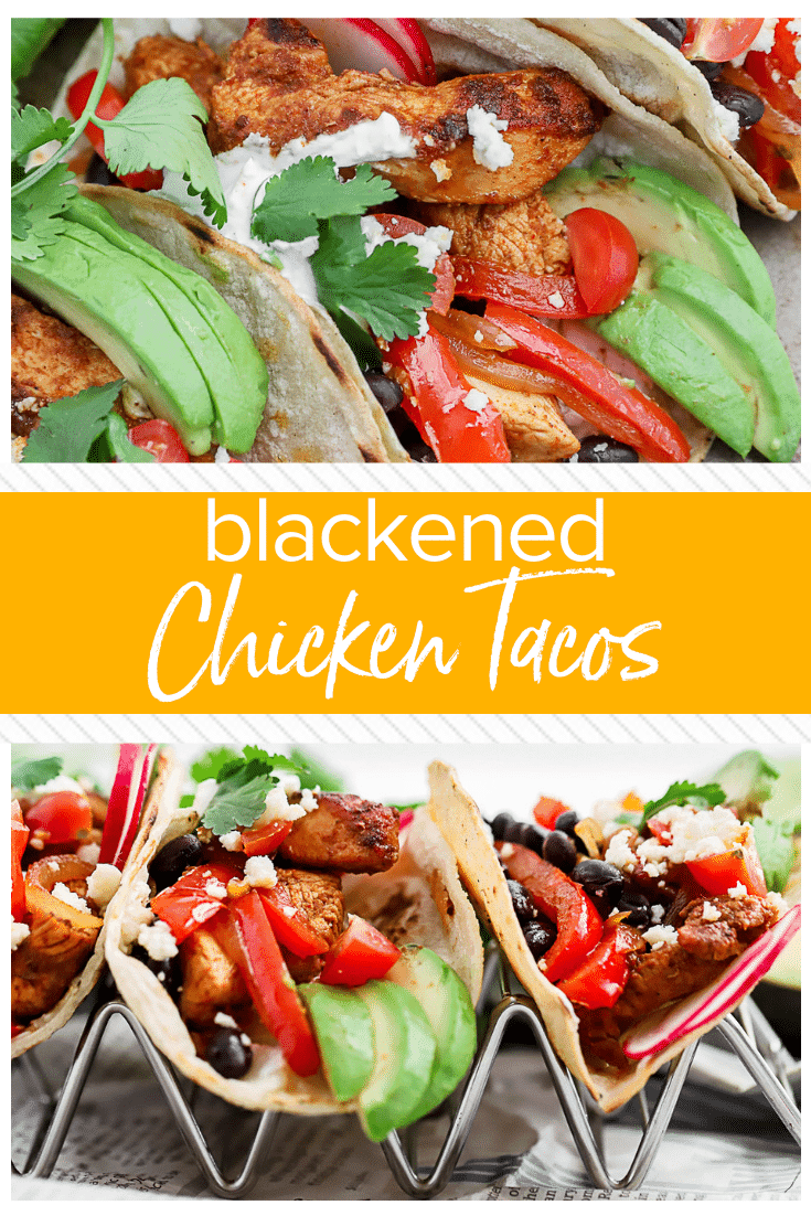 Blackened Chicken Tacos are one of our favorite fun easy chicken recipes for any day of the year! This Spicy Chicken Tacos Recipe is easy to prepare, and sure to please everyone from kids to adults. One of our favorite easy taco recipes!