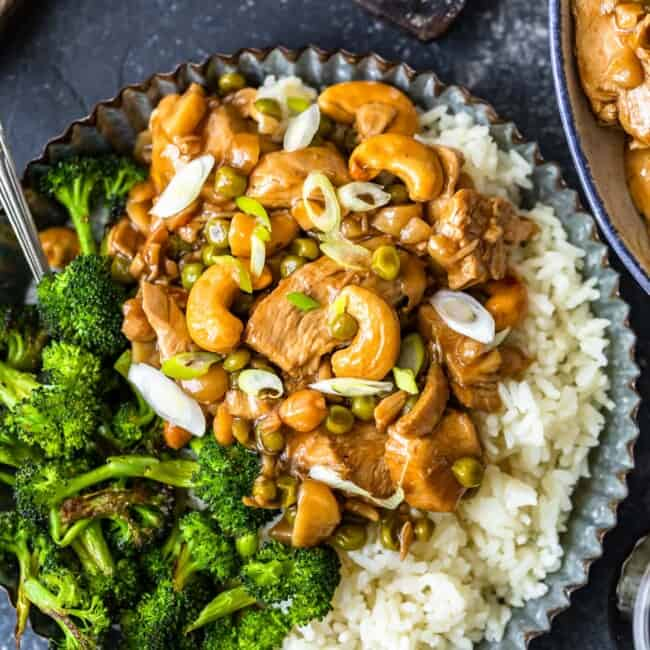 homemade cashew chicken on plate