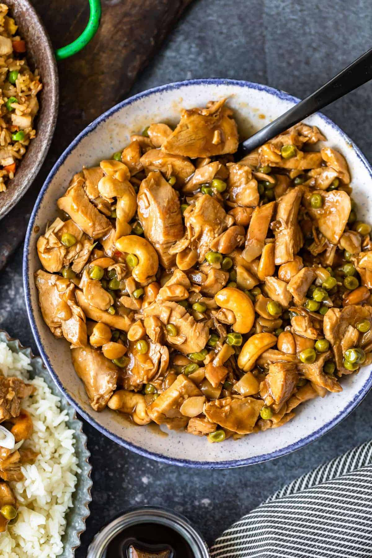 Homemade cashew chicken served in a white bowl