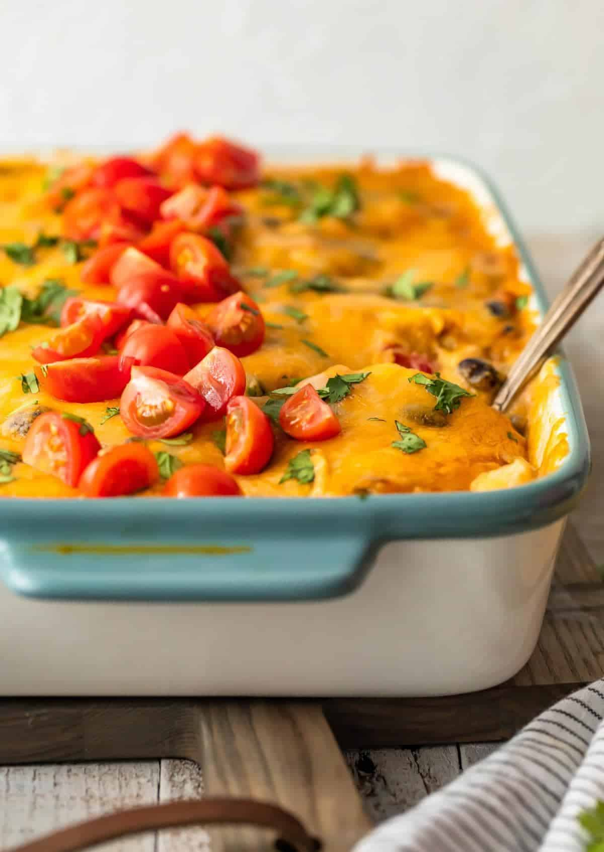 spoon in mexican chicken casserole