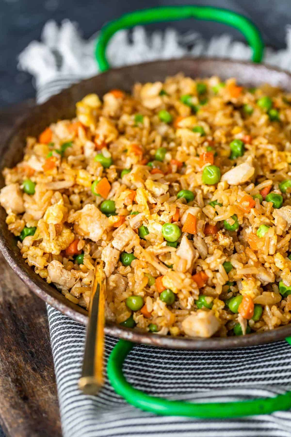 chicken fried rice with fork
