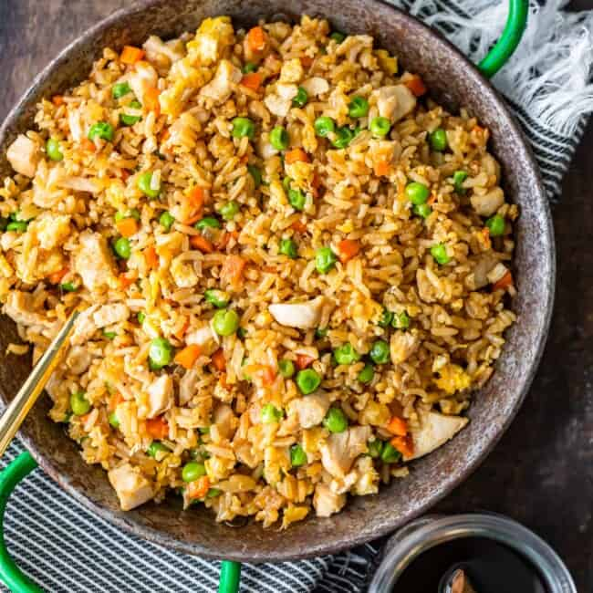 Homemade Chicken Fried rice on a work bench in a pan