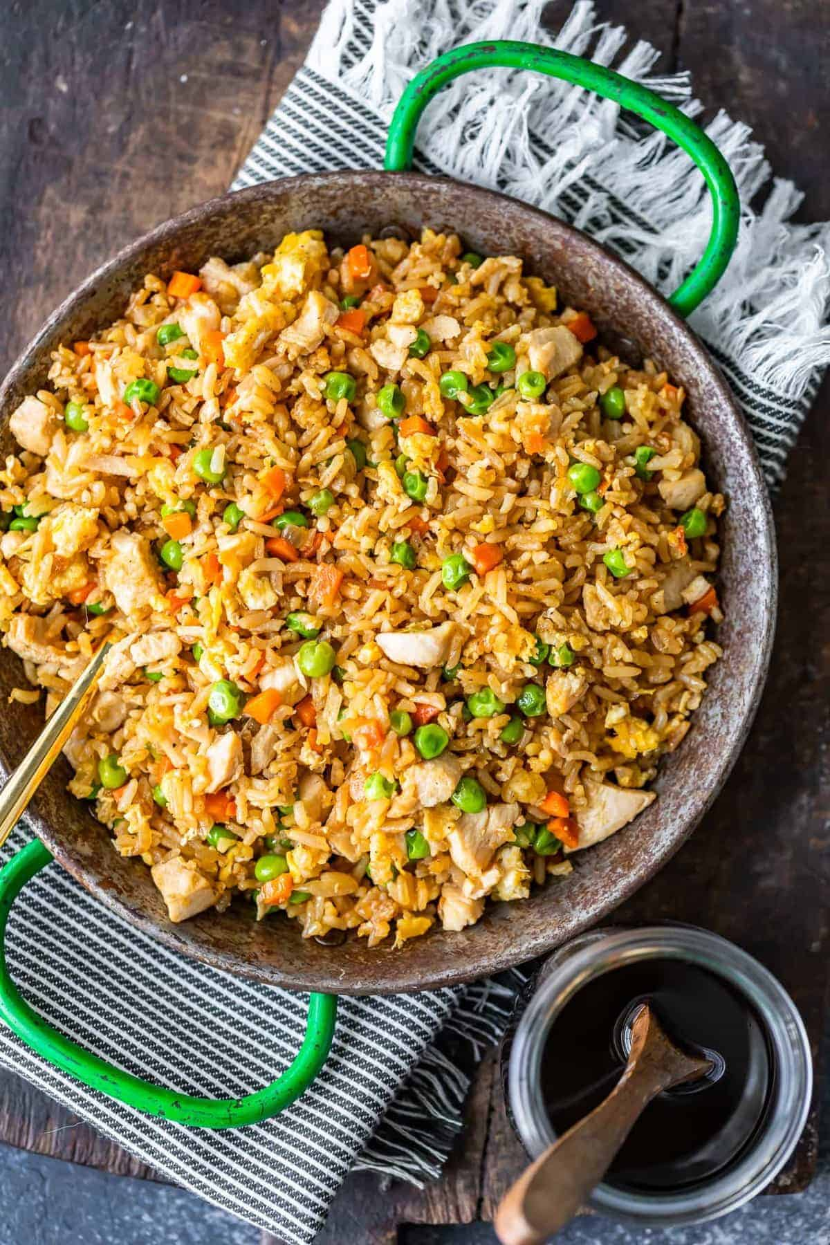 overhead image of chicken fried rice