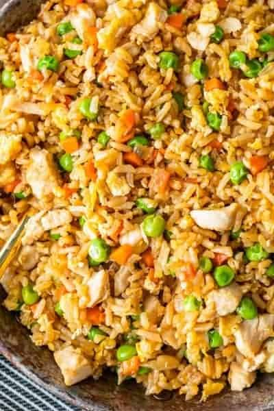 Close up of homemade chicken fried rice in a pan