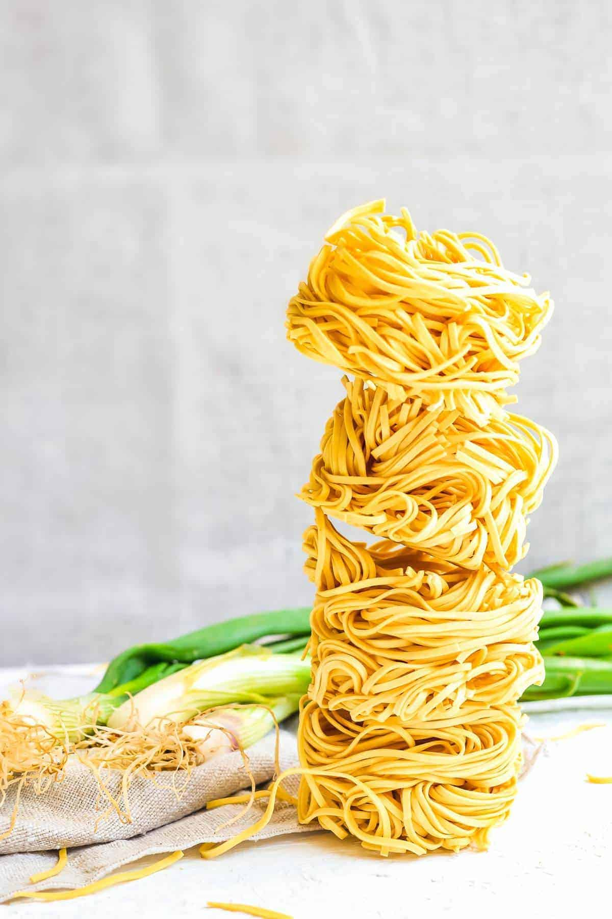 stacked egg noodles
