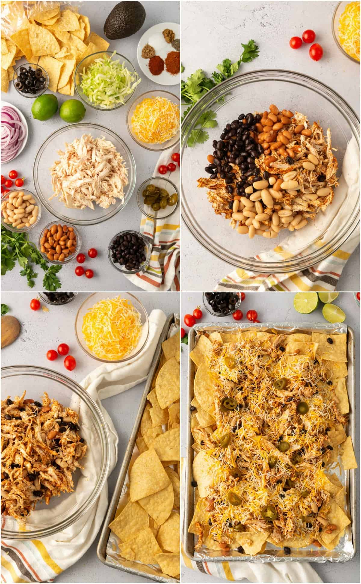 step by step photos of how to make mexican chicken nachos