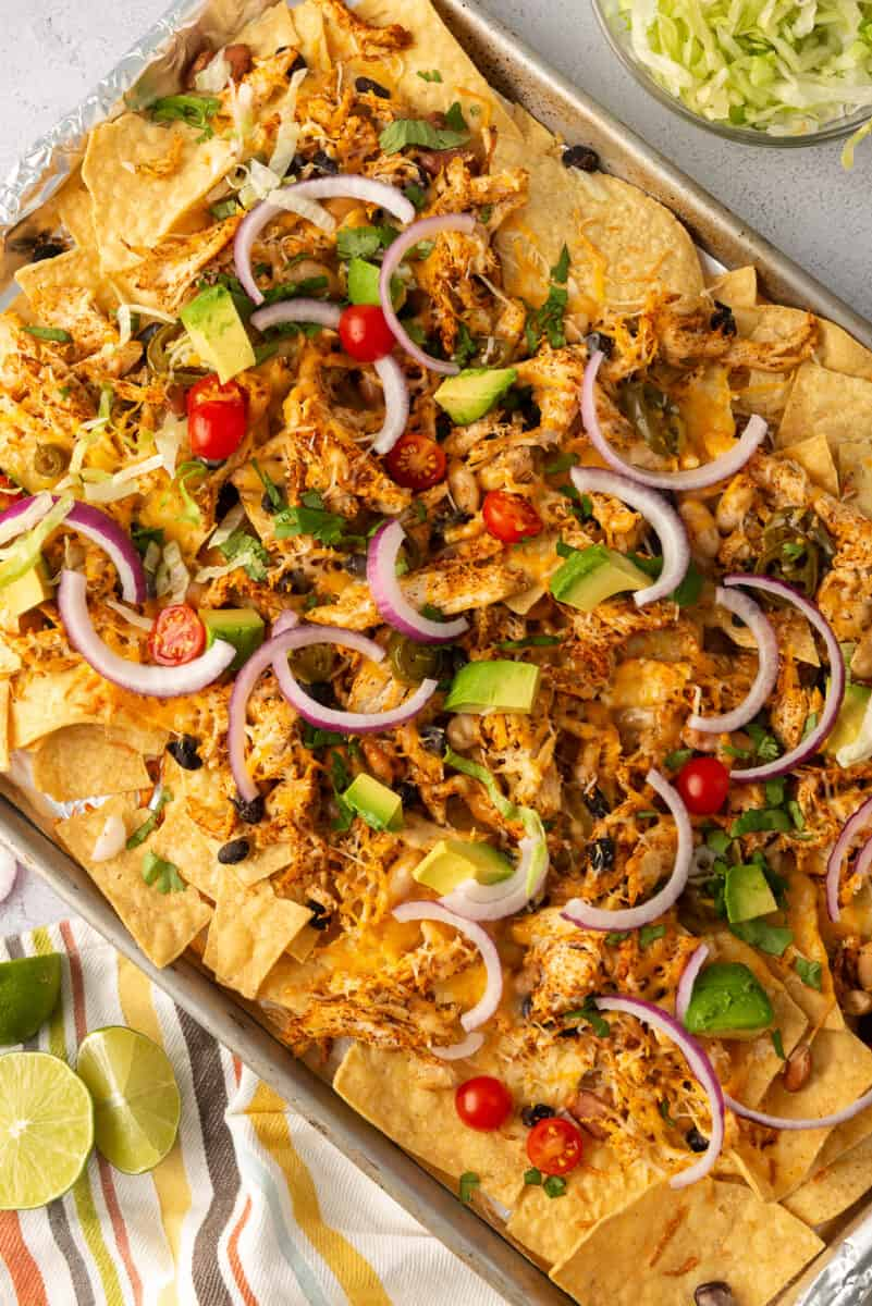 garnished sheet pan chicken nachos