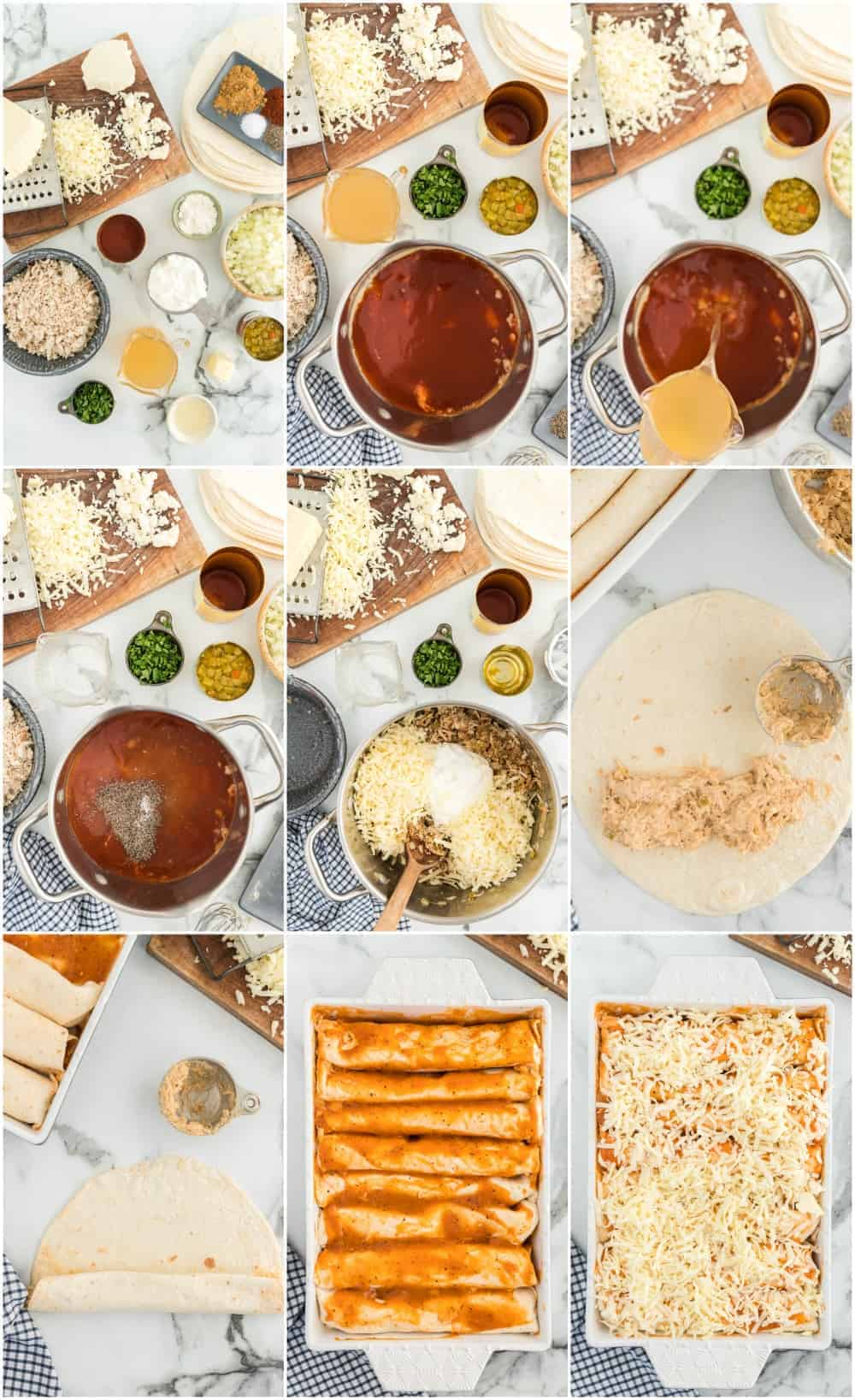 step by step photos for how to make shredded chicken enchiladas