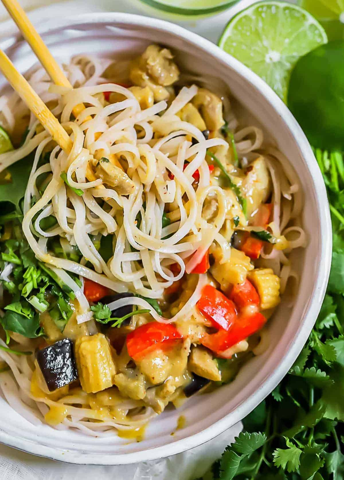 Close up of a Thai Green Curry Chicken noodle bowl