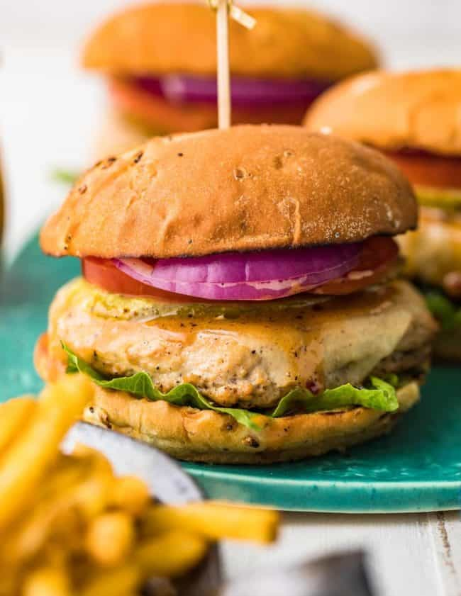 chicken burgers on platter