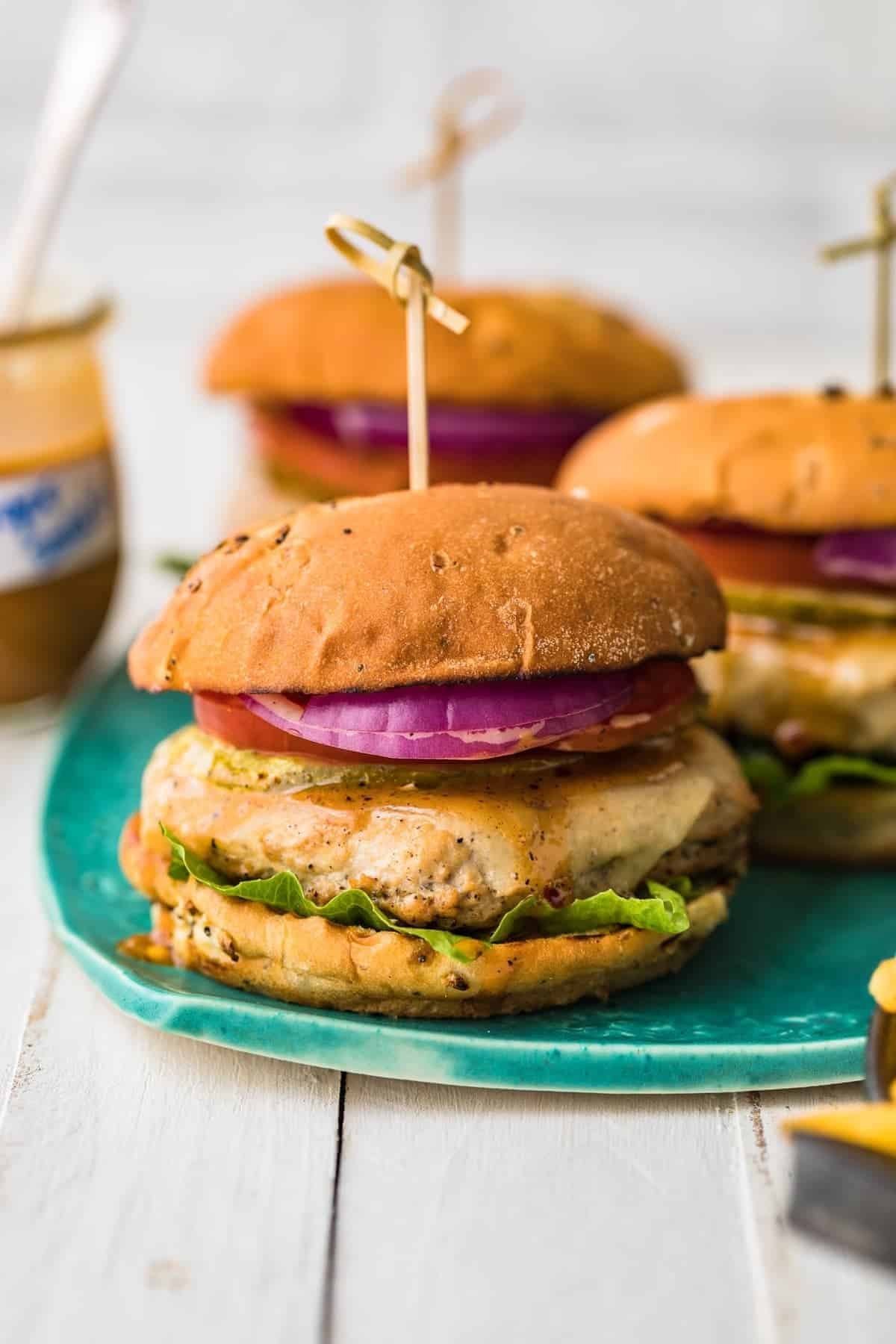 Juicy chicken burgers with toppings