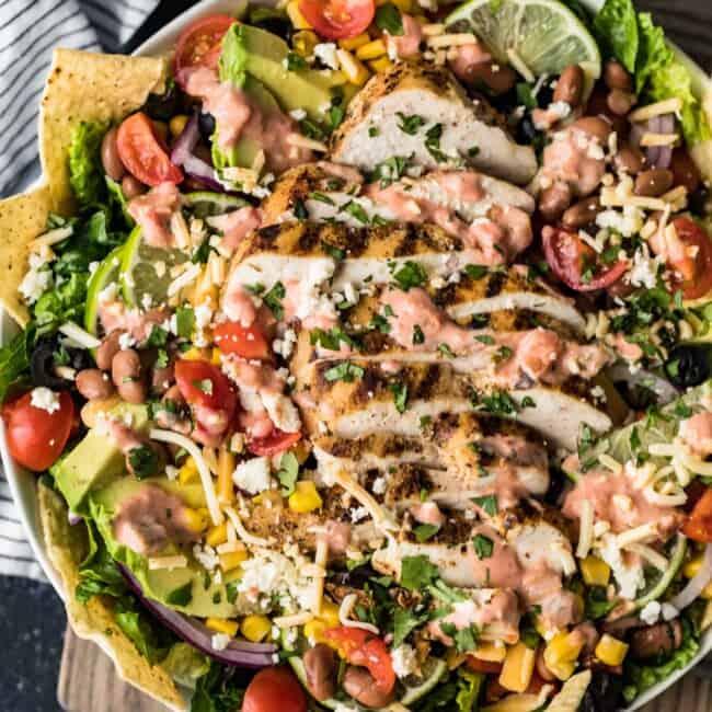 chicken taco salad in bowl