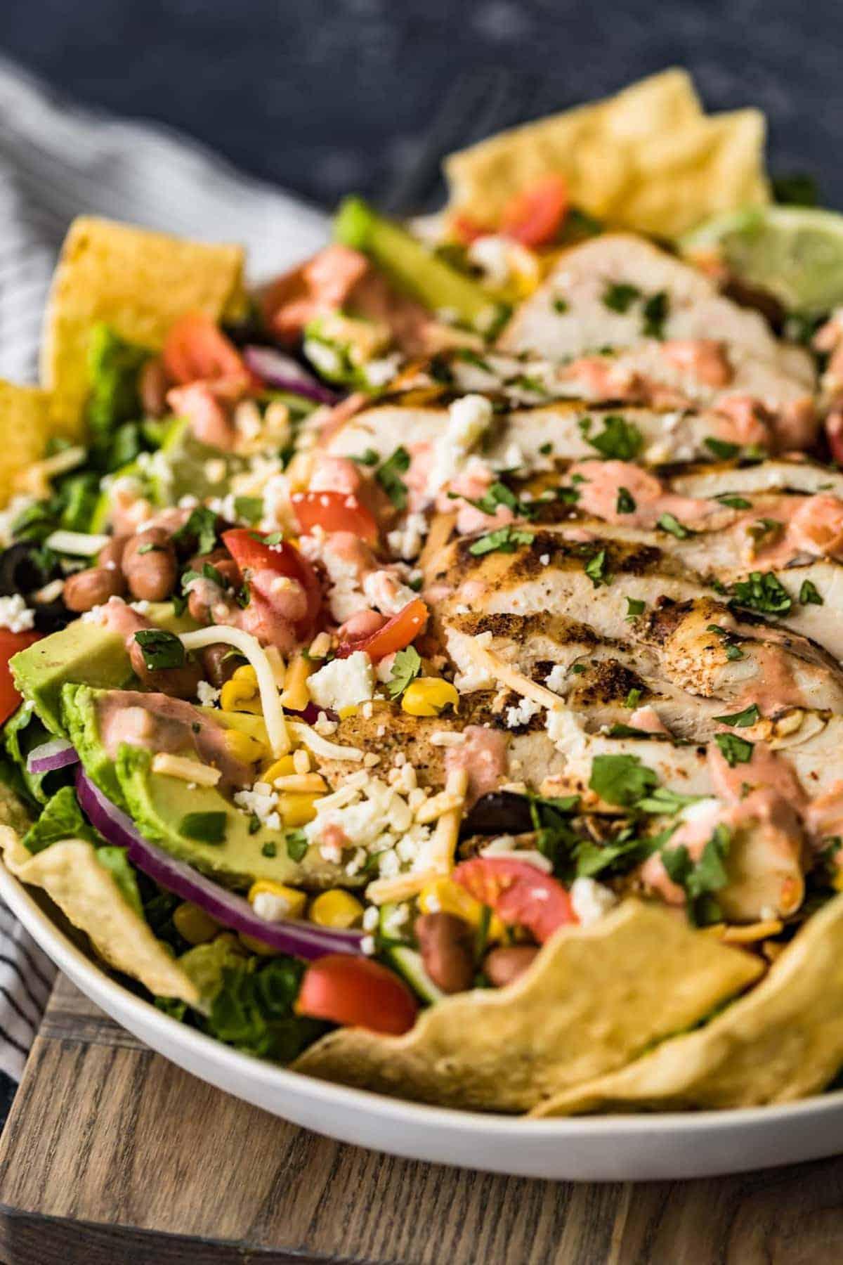 Chicken Taco Salad ready to serve