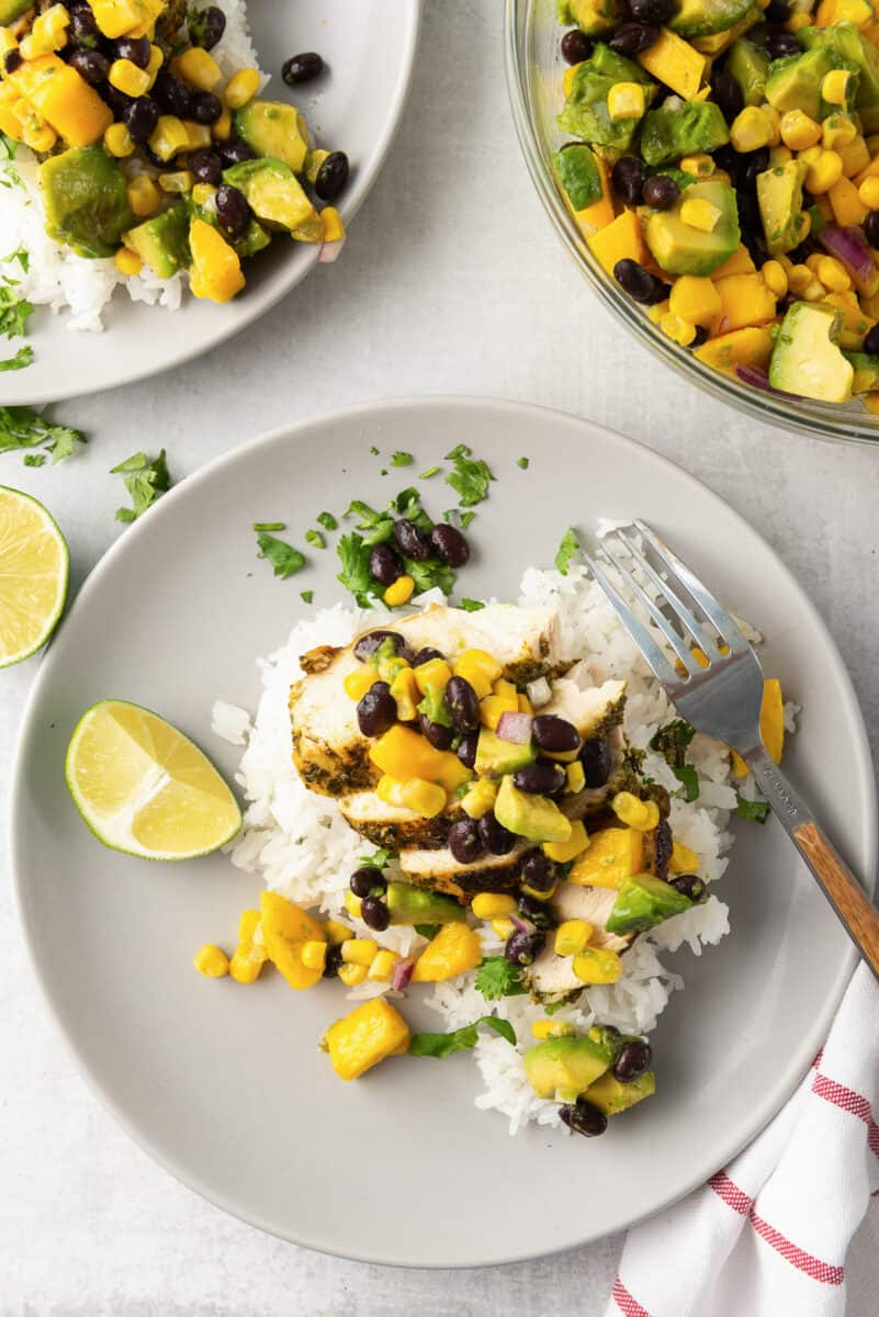 overhead image of cilantro lime grilled chicken