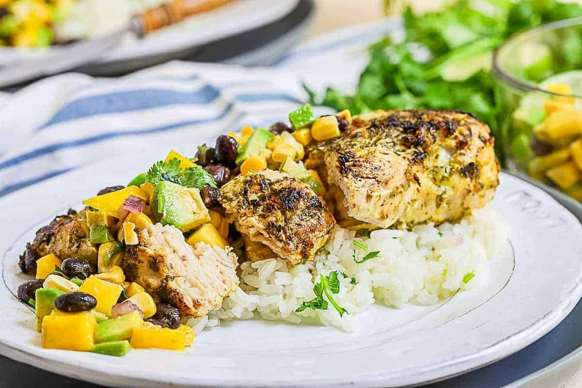 Cilantro lime chicken served with rice