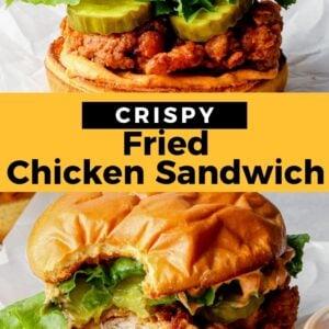 fried chicken sandwich pinterest collage