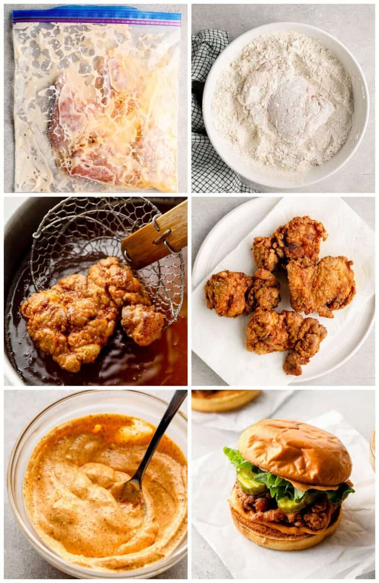 step by step photos for how to make crispy fried chicken sandwiches